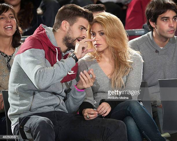 Gerard Pique FC Barcelona soccer player and his partner singer Shakira attend the 20132014 Turkish Airlines Euroleague Regular Season Date 7 game...