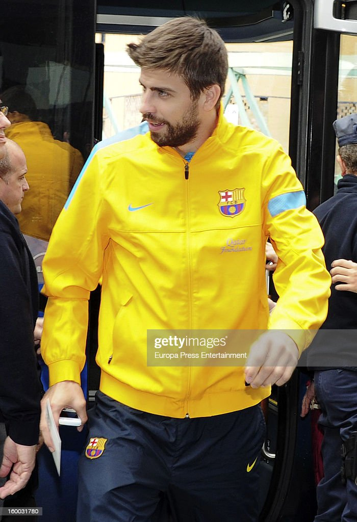 <a gi-track='captionPersonalityLinkClicked' href=/galleries/search?phrase=Gerard+Pique&family=editorial&specificpeople=227191 ng-click='$event.stopPropagation()'>Gerard Pique</a> is seen arriving at hotel before the match against Malaga CF for the Copa del Rey Quarter Final on January 24, 2013 in Malaga, Spain.