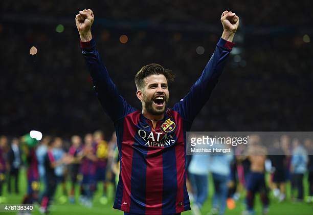 Gerard Pique of Barcelona celebrates after the UEFA Champions League Final between Juventus and FC Barcelona at Olympiastadion on June 6 2015 in...