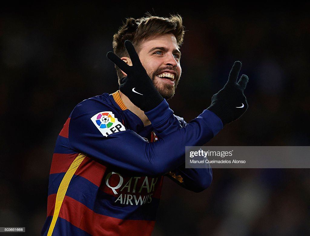 <a gi-track='captionPersonalityLinkClicked' href=/galleries/search?phrase=Gerard+Pique&family=editorial&specificpeople=227191 ng-click='$event.stopPropagation()'>Gerard Pique</a> of Barcelona celebrates scoring his team's third goal during the Copa del Rey Round of 16 match between FC Barcelona and Real CD Espanyol at Camp Nou on January 6, 2016 in Barcelona, Spain.