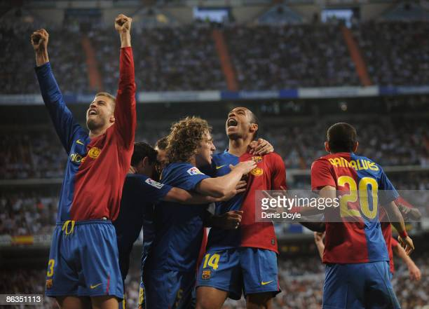 Gerard Pique of Barcelona celebrates with Dani Alves Carles Puyol and Thierry Henry after scoring Barcelona's sixth goal during the La Liga match...
