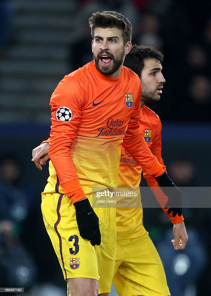 Gerard Pique of Barcelona in action during the UEFA Champions League Quarter Final match between Paris Saint-Germain FC and FC Barcelona at the Parc des Princes stadium on April 2, 2013 in Paris France.