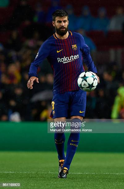 Gerard Pique of Barcelona in action during the UEFA Champions League group D match between FC Barcelona and Olympiakos Piraeus at Camp Nou on October...