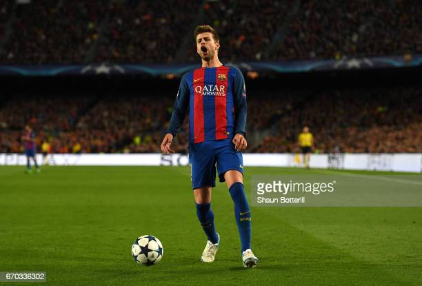 Gerard Pique of Barcelona reacts during the UEFA Champions League Quarter Final second leg match between FC Barcelona and Juventus at Camp Nou on...