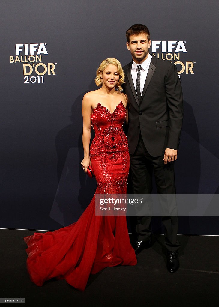 <a gi-track='captionPersonalityLinkClicked' href=/galleries/search?phrase=Gerard+Pique&family=editorial&specificpeople=227191 ng-click='$event.stopPropagation()'>Gerard Pique</a> of Barcelona with <a gi-track='captionPersonalityLinkClicked' href=/galleries/search?phrase=Shakira&family=editorial&specificpeople=160650 ng-click='$event.stopPropagation()'>Shakira</a> during the red carpet arrivals for the FIFA Ballon d'Or Gala 2011 on January 9, 2012 in Zurich, Switzerland.