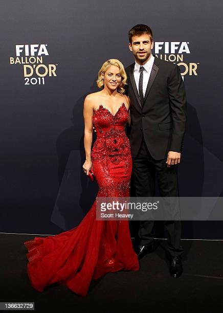 Gerard Pique of Barcelona with Shakira during the red carpet arrivals for the FIFA Ballon d'Or Gala 2011 on January 9 2012 in Zurich Switzerland