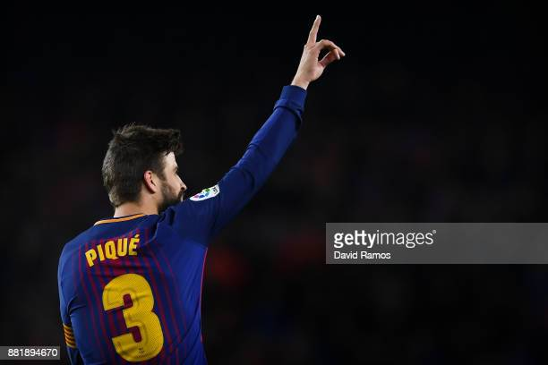 Gerard Pique of FC Barcelona after scoring his team's second goal during the Copa del Rey round of 32 second leg match between FC Barcelona and Real...