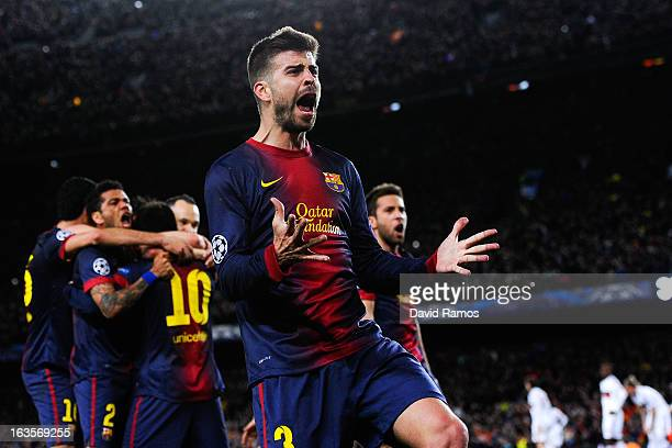 Gerard Pique of FC Barcelona celebrates after Lionel Messi of FC Barcelona scored his team's second goal during the UEFA Champions League round of 16...