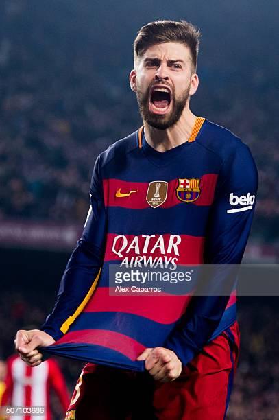 Gerard Pique of FC Barcelona celebrates after scoring his team's second goal during the Copa del Rey Quarter Final Second Leg between FC Barcelona...
