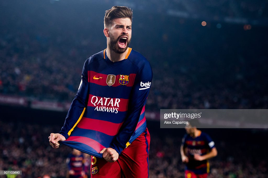 <a gi-track='captionPersonalityLinkClicked' href=/galleries/search?phrase=Gerard+Pique&family=editorial&specificpeople=227191 ng-click='$event.stopPropagation()'>Gerard Pique</a> of FC Barcelona celebrates after scoring his team's second goal during the Copa del Rey Quarter Final Second Leg between FC Barcelona and Athletic Club at Camp Nou stadium on January 27, 2016 in Barcelona, Spain.