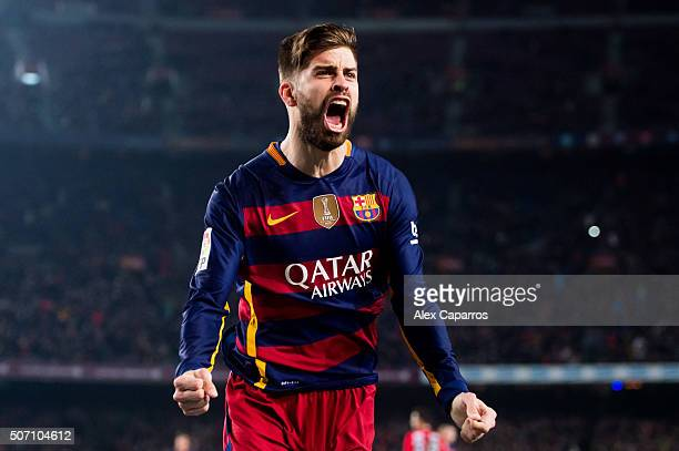 Gerard Pique of FC Barcelona celebrates after scoring his team's second goal during the Copa del Rey Quarter Final Second Leg between FC Barcelona...