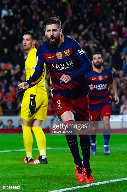 Gerard Pique of FC Barcelona celebrates after scoring his team's second goal during the La Liga match between FC Barcelona and Sevilla FC at Camp Nou...