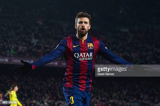Gerard Pique of FC Barcelona celebrates after scoring his team's third goal during the Copa del Rey SemiFinal first leg match between FC Barcelona...