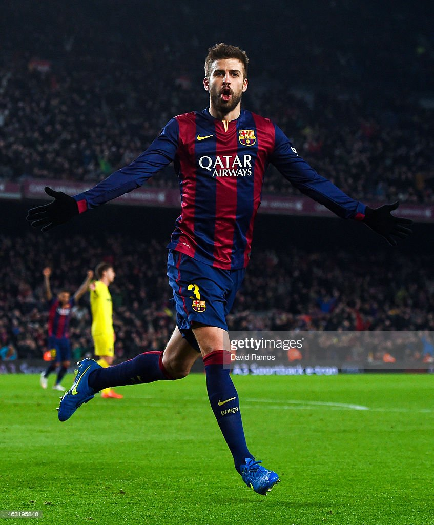 <a gi-track='captionPersonalityLinkClicked' href=/galleries/search?phrase=Gerard+Pique&family=editorial&specificpeople=227191 ng-click='$event.stopPropagation()'>Gerard Pique</a> of FC Barcelona celebrates after scoring his team's third goal during the Copa del Rey Semi-Final first leg match between FC Barcelona and Villarreal CF at Camp Nou on February 11, 2015 in Barcelona, Spain.