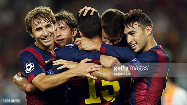 Gerard Pique of FC Barcelona celebrates his goal with his teammates during the Champions League match between FC Barcelona and Apoel CF at Camp Nou...