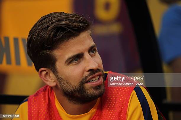 Gerard Pique of FC Barcelona during the International Champions Cup match between Barcelona and Chelsea at FedExField on July 28 2015 in Landover...