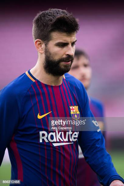 Gerard Pique of FC Barcelona looks on after the La Liga match between Barcelona and Las Palmas at Camp Nou on October 1 2017 in Barcelona Spain The...