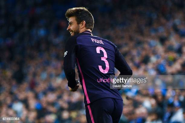 Gerard Pique of FC Barcelona looks on during the La Liga match between RCD Espanyol and FC Barcelona at the RCDE Stadium on April 29 2017 in...
