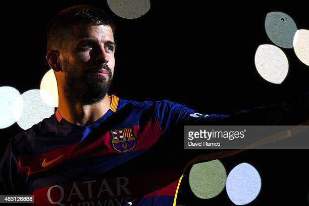 Gerard Pique of FC Barcelona looks on during the team official presentation ahead of the Joan Gamper trophy match at Camp Nou on August 5 2015 in...