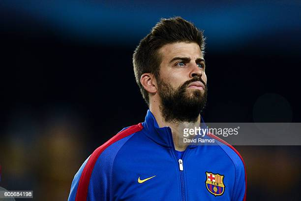 Gerard Pique of FC Barcelona looks on prior to the UEFA Champions League Group C match between FC Barcelona and Celtic FC at Camp Nou on September 13...