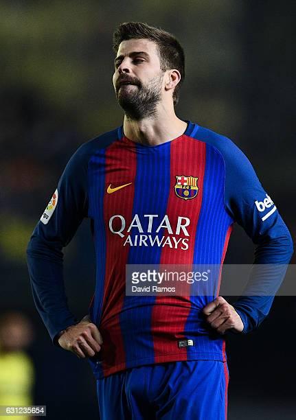 Gerard Pique of FC Barcelona reacts during the La Liga match between Villarreal CF and FC Barcelona at Estadio de la Ceramica stadium on January 8...