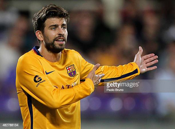 Gerard Pique of FC Barcelona reacts during the preseason friendly match between ACF Fiorentina and FC Barcelona at Artemio Franchi on August 2 2015...
