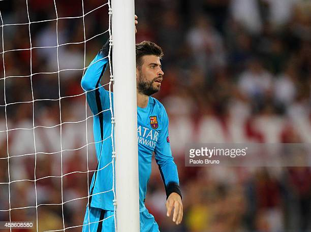 Gerard Pique of FC Barcelona reacts during the UEFA Champions League Group E match between AS Roma and FC Barcelona at Stadio Olimpico on September...
