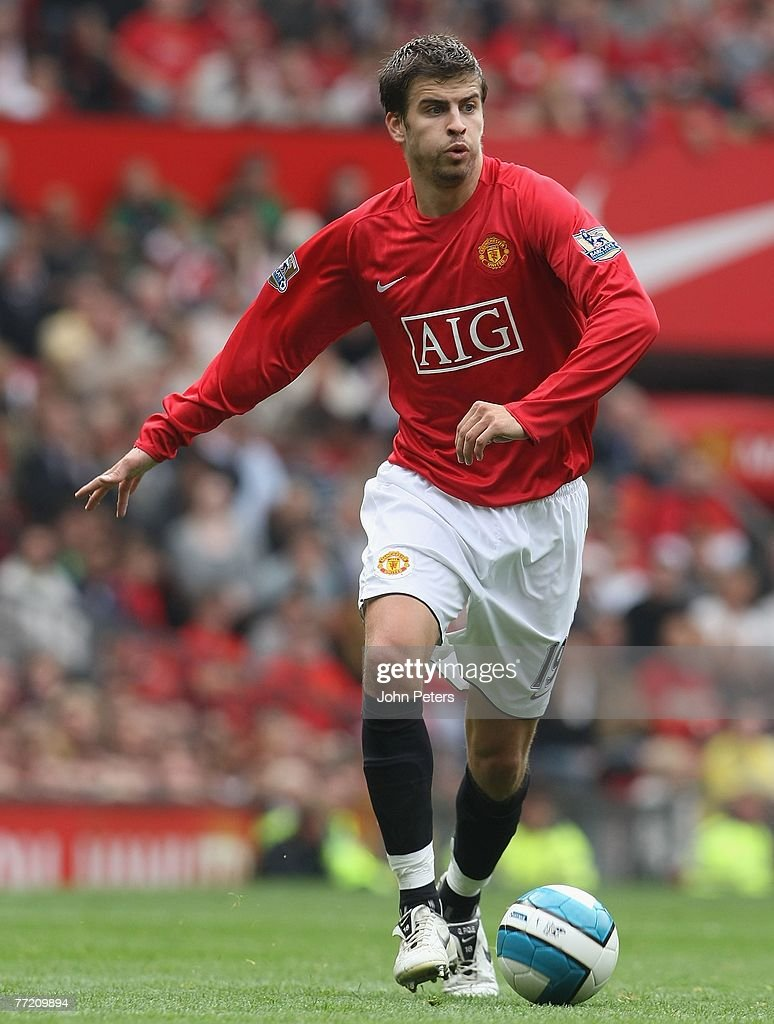 Gerard Pique of Manchester United in action during the Barclays FA Premier League match between Manchester United and Wigan Athletic at Old Trafford on October 6 2007 in Manchester, England.