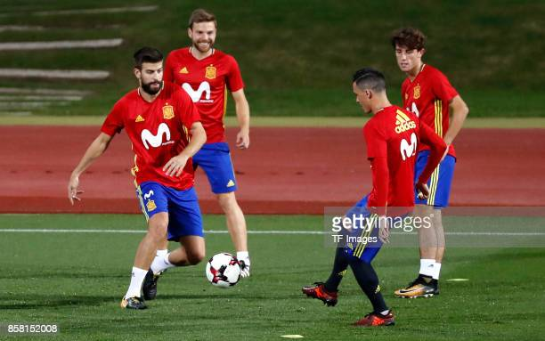 Gerard Pique of Spain Asier Illarramendi of Spain Jose Callejon of Spain attends a training session on October 2 2017 in Madrid Spain
