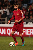 Gerard Pique of Spain controls the ball during the UEFA EURO 2016 Group C Qualifier football match between Spain and Belarus at Nuevo Colombino...