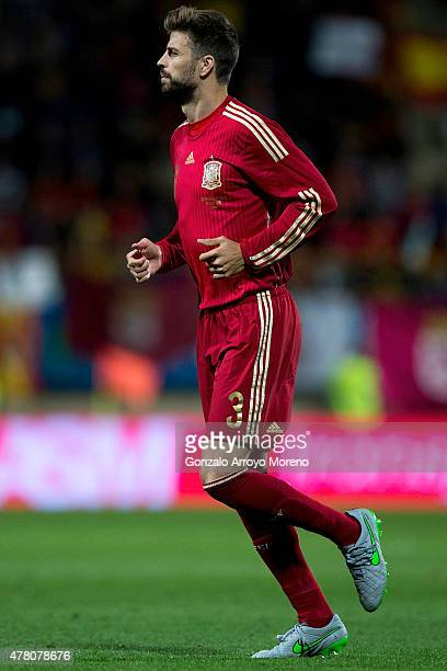 Gerard Pique of Spain in action during the international friendly match between Spain and Costa Rica at Reino de Leon Stadium on June 11 2015 in Leon...