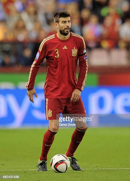 Gerard Pique of Spain in action during the UEFA EURO 2016 Qualifier group C match between Spain and Luxembourg at Estadio Municipal Las Gaunas on...