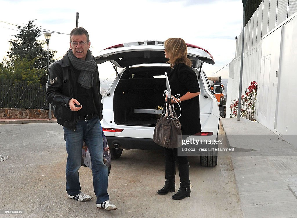 Gerard Pique's parents Joan Pique and Montserrat Bernabeu arrive at <a gi-track='captionPersonalityLinkClicked' href=/galleries/search?phrase=Shakira&family=editorial&specificpeople=160650 ng-click='$event.stopPropagation()'>Shakira</a> and Pique's home on January 27, 2013 in Barcelona, Spain.