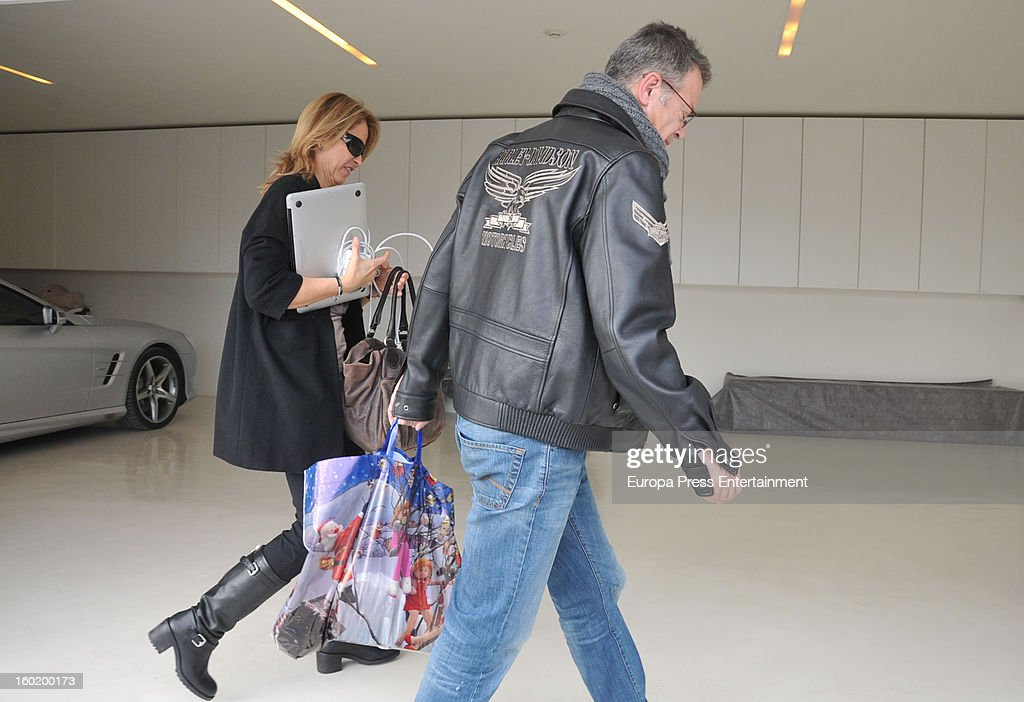 Gerard Pique's parents Joan Pique and Montserrat Bernabeu arrive at Shakira and Pique's home on January 27, 2013 in Barcelona, Spain.