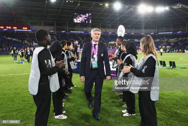 Gerard Precheur head coach of Olympique Lyonnais looks on after victory in the UEFA Women's Champions League Final between Lyon and Paris Saint...