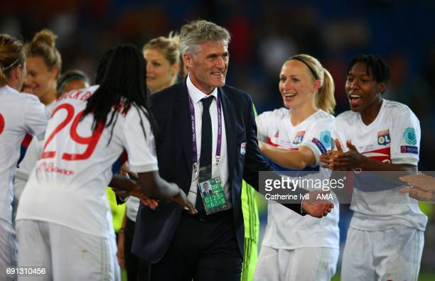 Gerard Precheur manager / head coach of Olympique Lyonnais celebrates with his team after the UEFA Women's Champions League Final match between Lyon...