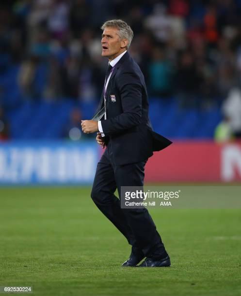 Gerard Precheur manager of Olympique Lyonnais during the UEFA Women's Champions League Final match between Lyon and Paris Saint Germain at Cardiff...
