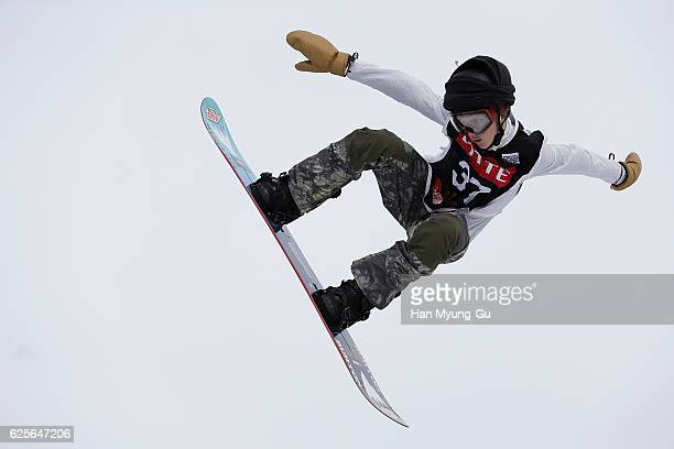 Gerard Redmond of USA competes in Mens H1 Qualifications R2 during the FIS Snowboard World Cup 2016/17 at Alpensia Ski Jumping Center on November 25...
