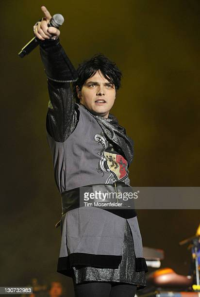 Gerard Way of My Chemical Romance performs as part of the 2011 Voodoo Music Experience at City Park on October 28 2011 in New Orleans Louisiana