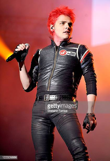 Gerard Way of My Chemical Romance performs on day two of the Leeds Festival at Bramhall Park on August 27 2011 in Leeds England