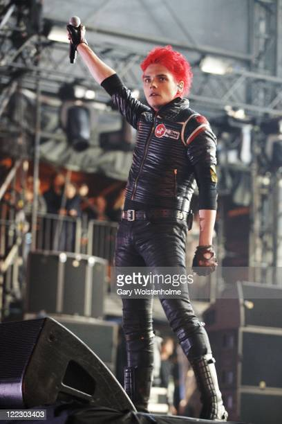 Gerard Way of My Chemical Romance performs on stage during day two of Leeds Festival at Bramham Park on August 27 2011 in Leeds United Kingdom