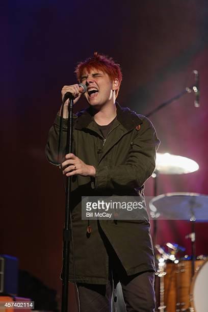 Gerard Way performs at the Radio1045 Presents Gerard Way Private Sound Check Party at the Trocadero October 17 2014 in Philadelphia Pennsylvania