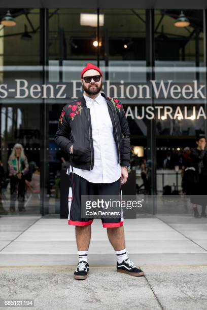 Gerard wearing Insted We Smile jacket during MercedesBenz Fashion Week Resort 18 Collections at Carriageworks on May 15 2017 in Sydney Australia