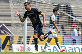 Gerardo Alcoba of Pumas celebrates after scoring the first goal of his team during a match between Pumas UNAM and Santos Laguna as part of 14th round...