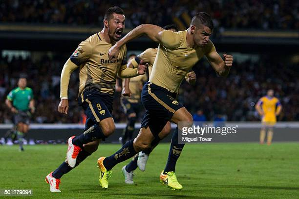 Gerardo Alcoba of Pumas celebrates after scoring the fourth goal of his team during the final second leg match between Pumas UNAM and Tigres UANL as...