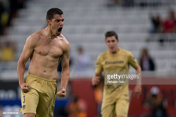 Gerardo Alcoba of Pumas celebrates after scoring the tying goal during a match between Atlas and Pumas UNAM as part of 4th round Clausura 2015 Liga...