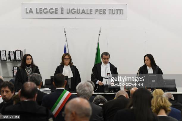 Gerardo Boragine president of the court reads the sentence during the trial of the rail disaster of Viareggio that killed 32 people in 2009 after the...
