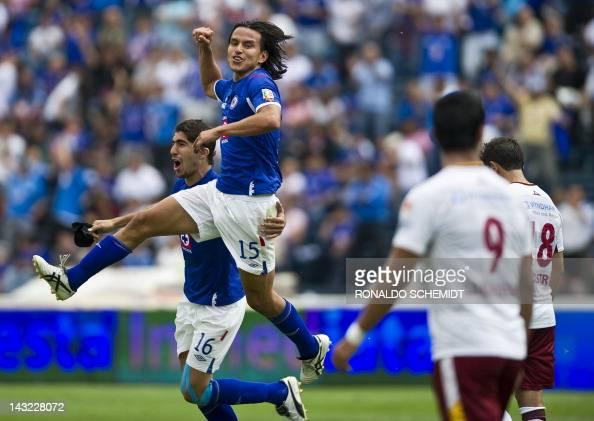 Gerardo Flores of Cruz Azul celebrates his goal against Estudiantes during their Mexican Clausura tournament in Mexico City on April 21 2012 AFP...