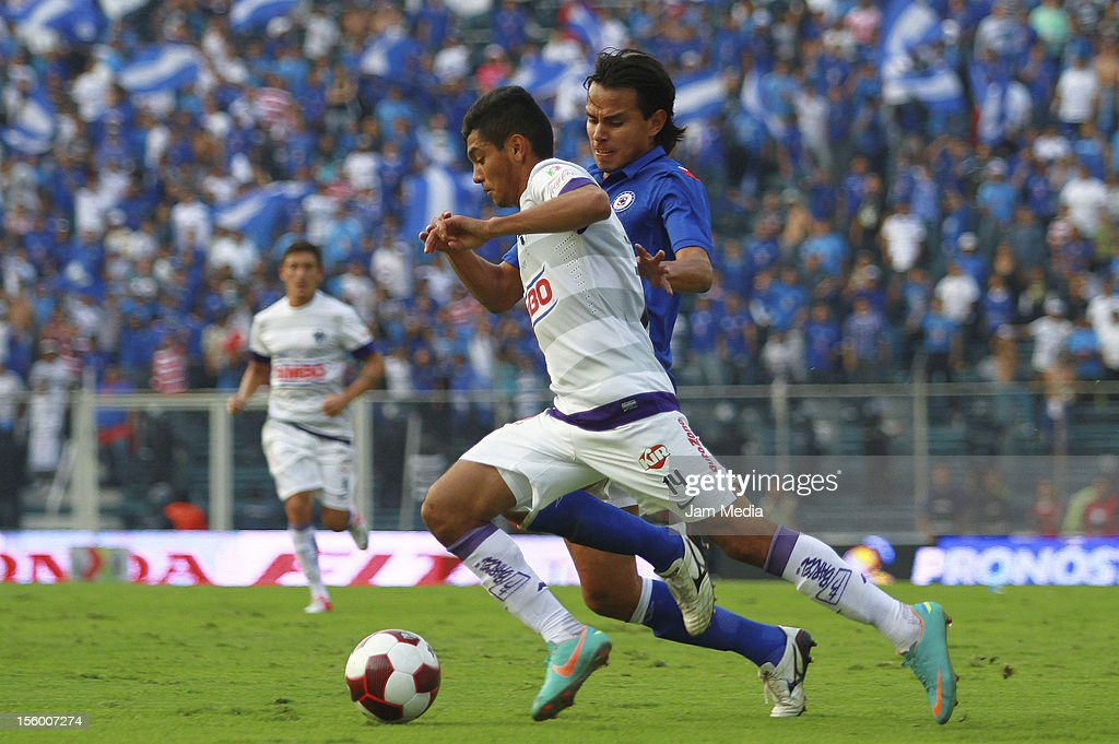 Gerardo Flores of Cruz Azul struggles for the ball with Jesus Corona of Monterrey during the Apertura 2012 Liga MX at Azul Stadium on november 10...