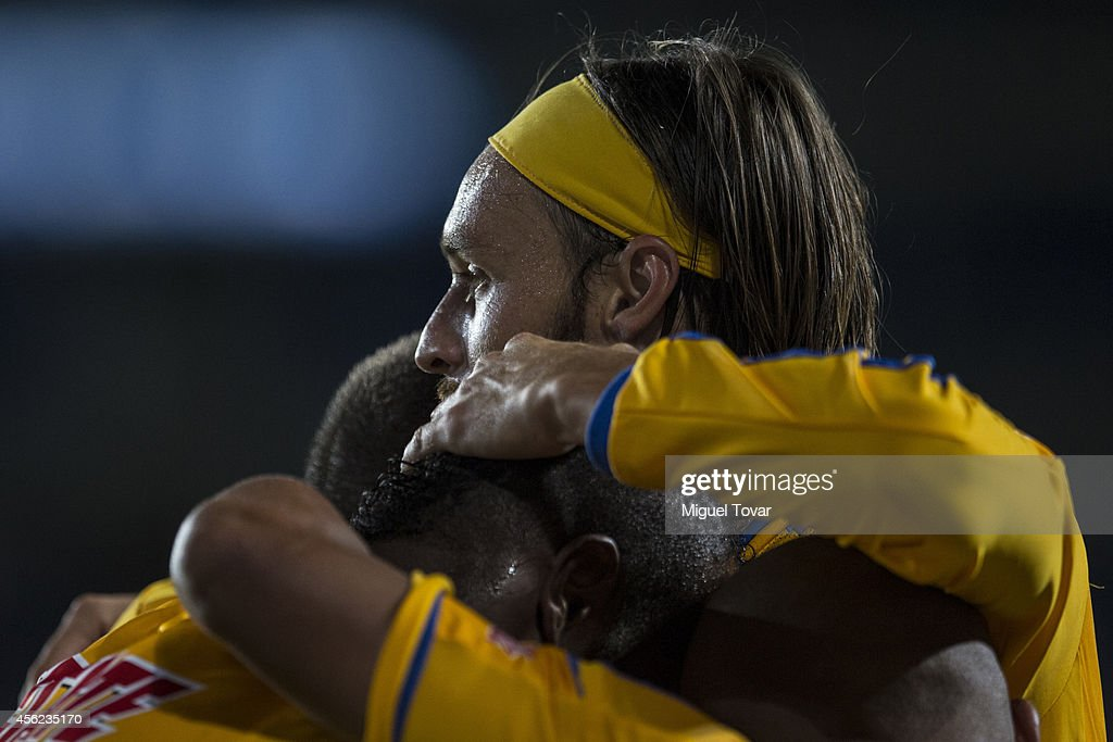Gerardo Lugo of Tigres celebrates after scoring the second goal of his team with teammates during a match between Pachuca v Tigres UANL as part of...